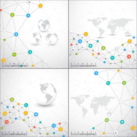 connection connections: Modern set of infographic network vector template with place for your text. Can be used for workflow layout, diagram, chart, number options, web design. Illustration