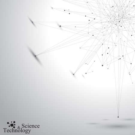 el atomo: Forma abstracta geométrica con líneas y puntos conectados. Fondo gris Tecnology para su diseño y su texto. Ilustración del vector.