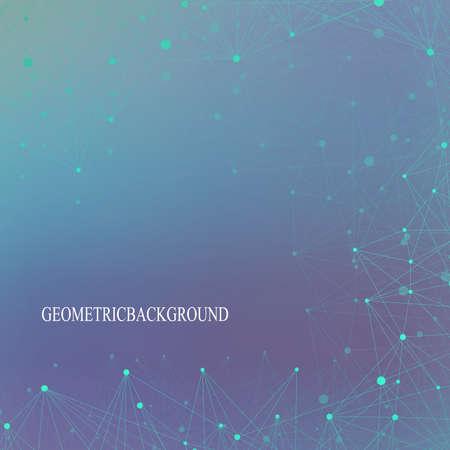 Futurista molécula de fondo de la tecnología y la comunicación. Líneas conectadas con puntos. Ilustración del vector.