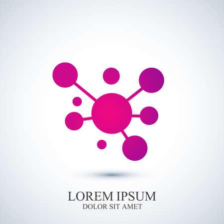 現代ロゴ アイコン dna や分子。医学、科学、技術、バイオ テクノロジーのベクトル テンプレートです。