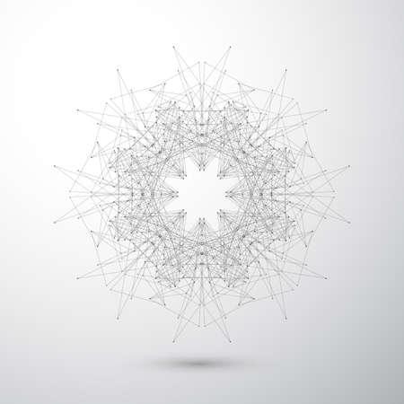 Geometrische abstrakte Form mit verbundenen Linien und Punkten. Tecnology grauen Hintergrund für Ihr Design und Ihren Text. Vektor-Illustration. Standard-Bild - 46551912