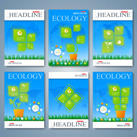 sample environment: Modern vector set of brochures, magazine, flyer, booklet, cover or report in A4 size. Ecology design. Illustration