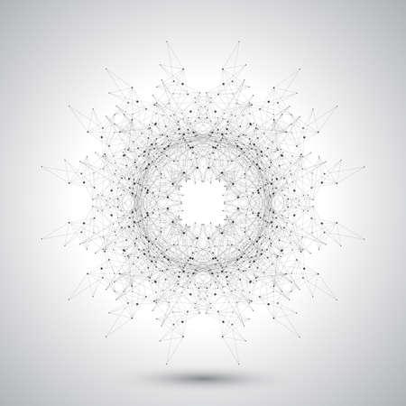 fondo: Forma abstracta geom�trica con l�neas y puntos conectados. Dise�o de la tecnolog�a futurista. Ilustraci�n del vector.