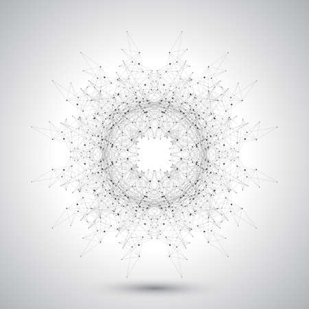 Geometric abstract form with connected lines and dots. Futuristic technology design. Vector illustration.