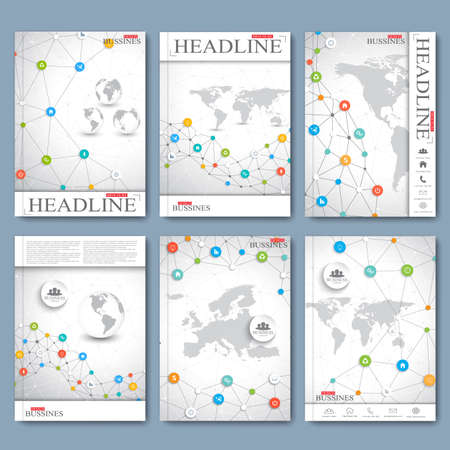 geometric background: conjunto de vectores moderna de folletos, revista, folleto, folleto, cubierta o del informe en formato A4. Dise�o de negocio.