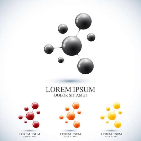 Icono moderno conjunto logotipo de ADN y la molécula. Modelo del vector para la medicina, la ciencia, la tecnología, la química, la biotecnología. Logos