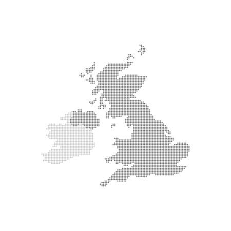 Grey Map United Kingdom In The Dot . Vector illustration.