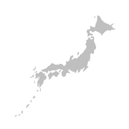 Grey Map Japan In The Dots . Vector illustration.