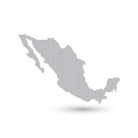 ドット グレー地図メキシコ。ベクトルの図。  イラスト・ベクター素材