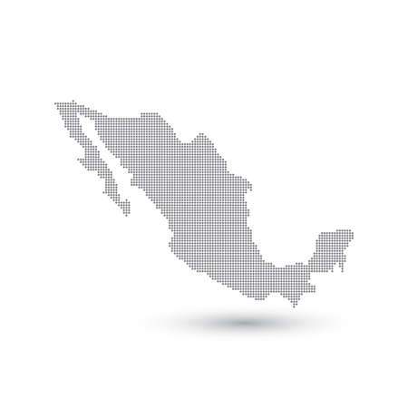 republic: Grey Map Mexico In The Dot . Vector illustration.