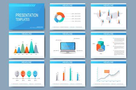 大きなプレゼンテーション スライドのベクトル テンプレートをセットします。現代のビジネス デザイン グラフとグラフの作成。