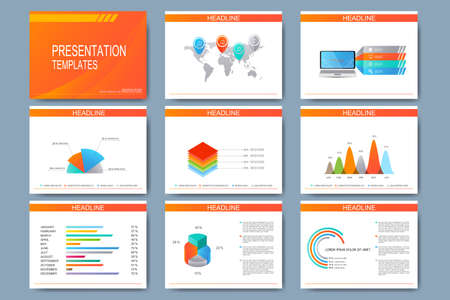 Big set of vector templates for presentation slides. Modern business design with graph and charts.