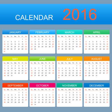 calendario julio: Vector calendario plantilla de 2016 a�os. La semana comienza con el domingo.