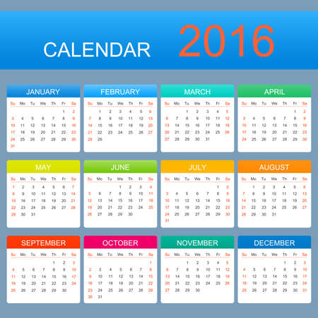 october calendar: Vector template calendar 2016 years. Week starts with sunday.