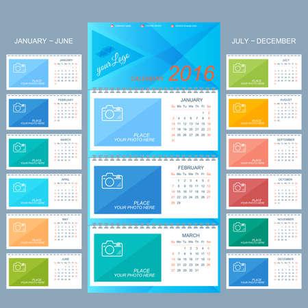 kalendarz: Kalendarz ścienny 2016 roku. Wektor szablon z miejscem na zdjęcie. Zestaw 12 miesięcy.