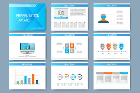 internet marketing: Set of vector templates for multipurpose presentation slides. Modern business design with graph and charts.
