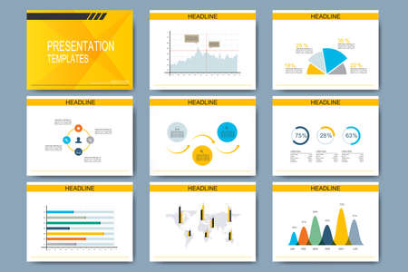 graph paper: Set of vector templates for multipurpose presentation slides. Modern business design with graph and charts.