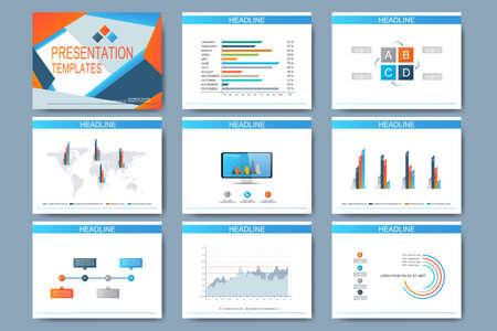 Satz von Vorlagen für Mehrzweck-Präsentationsfolien. Modernes Business-Design mit Graphen und Diagramme. Standard-Bild - 48180439