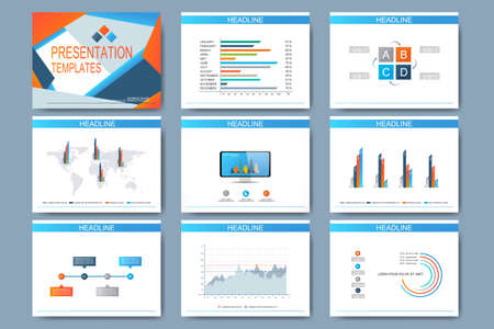 Set of templates for multipurpose presentation slides. Modern business design with graph and charts.