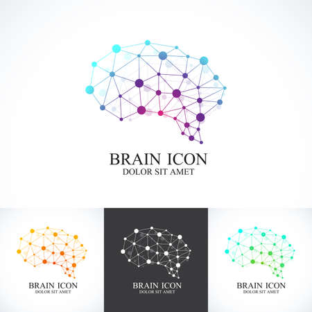 business sign: Set of Colorful Template Brain Logo. Creative concept design icon. Illustration