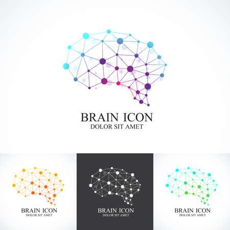 dna chain: Set of Colorful Template Brain Logo. Creative concept design icon. Illustration