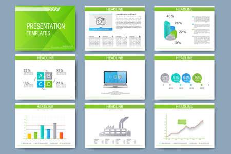 Satz von Vorlagen für Mehrzweck-Präsentationsfolien. Modernes Business-Design mit Graphen und Diagramme. Standard-Bild - 48180445