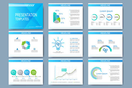 Blue set of vector templates for presentation slides. Modern business design with graph and charts.