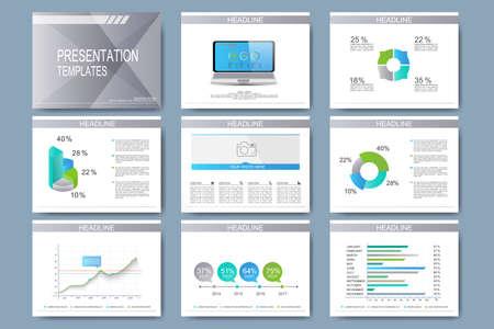 프리젠 테이션 슬라이드를위한 벡터 템플릿 집합입니다. 그래프 및 차트와 현대 비즈니스 디자인. 일러스트