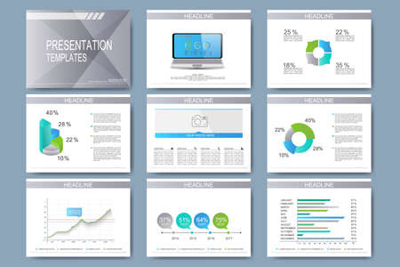 Set of vector templates for presentation slides. Modern business design with graph and charts. Illustration