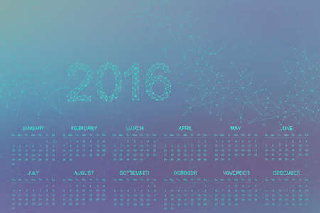 connect: Calendar 2016 year .Geometric background molecule and communication for your design.