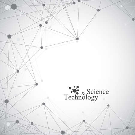 Geometrische grauen Hintergrund Molekül und Kommunikation. Verbunden Linien mit Punkten. Vektor-Illustration. Standard-Bild - 49562223