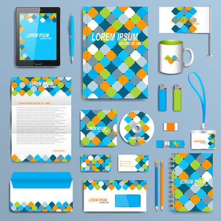 corporate identity template: Set of vector corporate identity template. Modern business stationery mock-up  design .