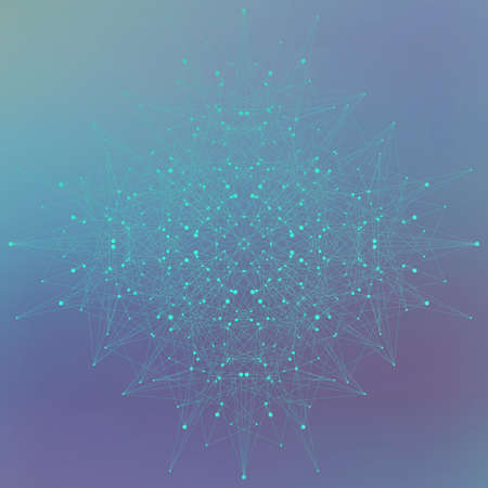 Geometric abstract form with connected lines and dots on blue background. Vector illustration. Vectores