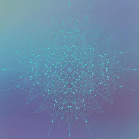 Geometrisch abstracte vorm met aangesloten lijnen en stippen op een blauwe achtergrond. Vector illustratie.