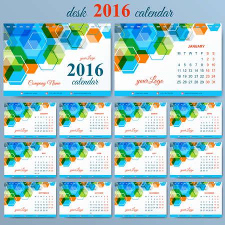 desk calendar: Vector template desk calendar 2016 years . Week starts monday.