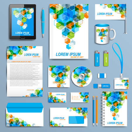 company background: Set of vector corporate identity template. Modern business stationery mock-up design.