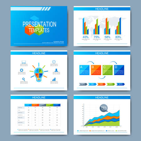 sample environment: Set of vector template for presentation slides. Modern design with graph and charts.