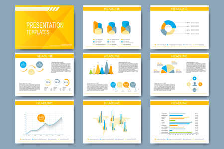 Set of vector template for presentation slides. Modern design with graph and charts.