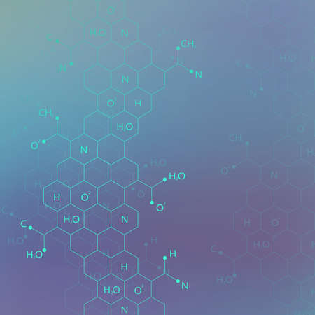 química: estructura de molécula de ADN en el fondo azul para su diseño y su texto. Ilustración del vector.