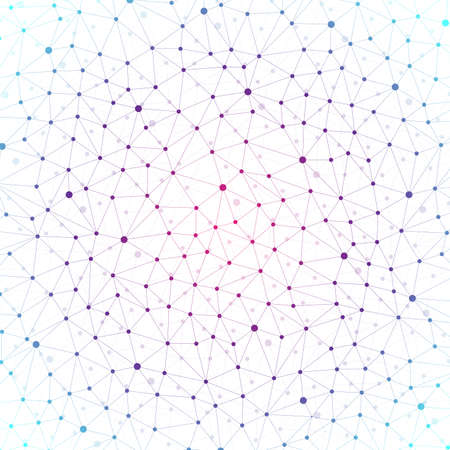 Colorful graphic background with connected line and dots. Molecule and communication background for your design and your text. Vector illustration.