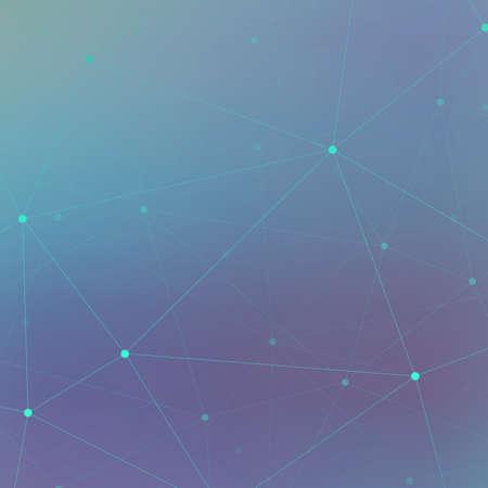 Technologie blauwe achtergrond molecuul en communicatie. Verbonden lijn met stippen .Vector illustratie.