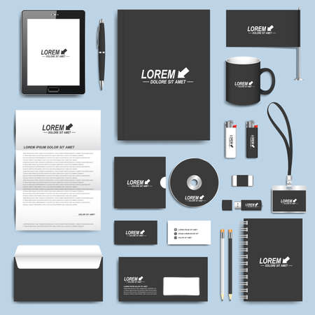 Black set of vector corporate identity templates. Modern business stationery design.