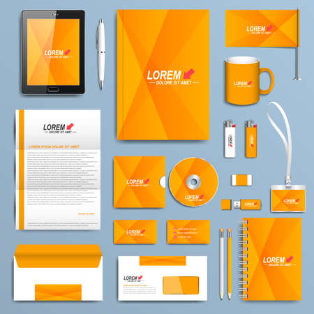 stationery: Yellow set of vector corporate identity templates. Modern business stationery design. Illustration