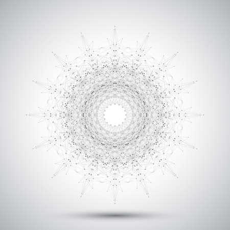 Futuristische abstracte vorm met aangesloten lijn en stippen. Grafische achtergrond voor uw ontwerp. Vector illustratie.