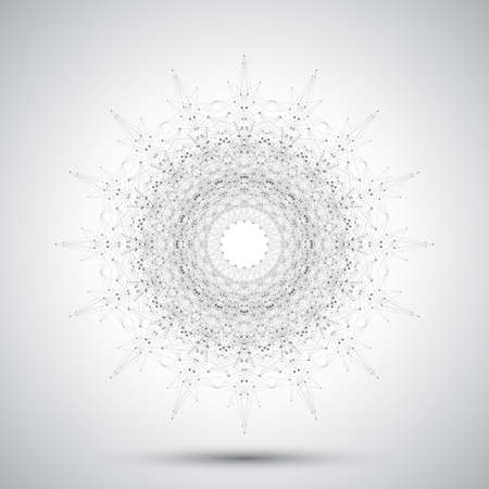 Futuristic  abstract form with connected line and dots. Graphic background for your design. Vector illustration.