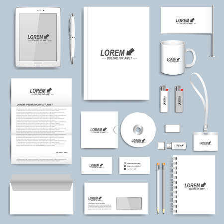 White set of vector corporate identity templates. Modern business stationery design.