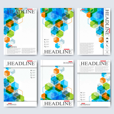 Modern vector templates for brochure, flyer, cover magazine or report in A4 size. Business, science, medicine and technology design . Vector illustration. Çizim