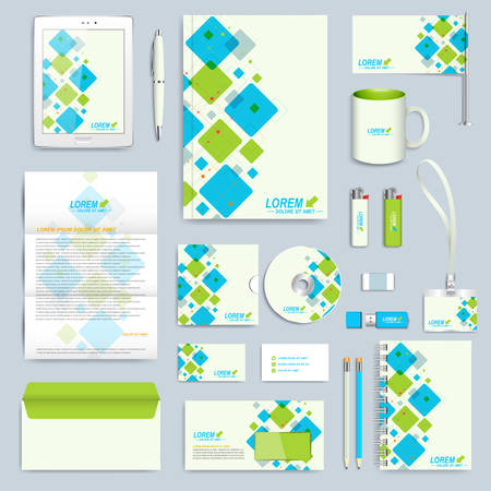 stationary: Set of vector corporate identity template. Modern business stationery mock-up. Branding design with blue and green square shapes.
