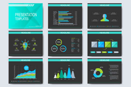 print template: Set of vector templates for multipurpose presentation slides. Modern business design with graph and charts.