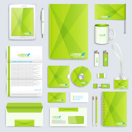 annual report: Set of vector corporate identity template. Modern business stationery mock-up. Branding design in the green stile.